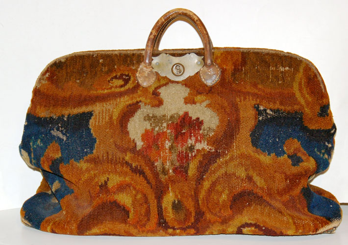 Leather Carpet Bag 1860's Carpet Bag With Leather