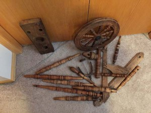 parts of antique spinning wheel