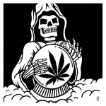 death holding marijuana leaf