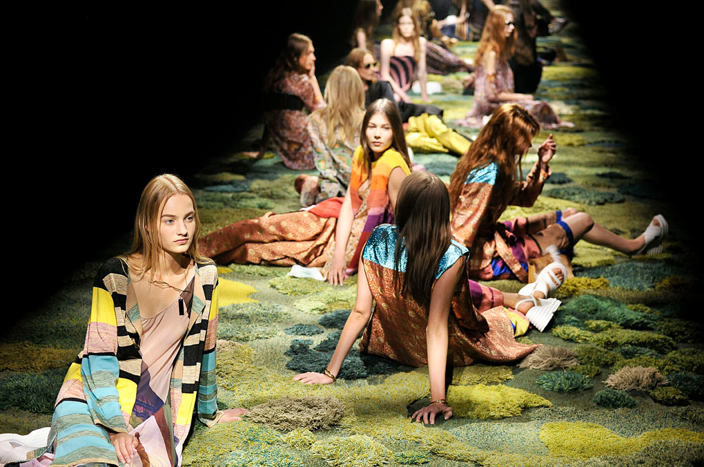 The Rug Art of Alexandra Kehayoglou:runway with models